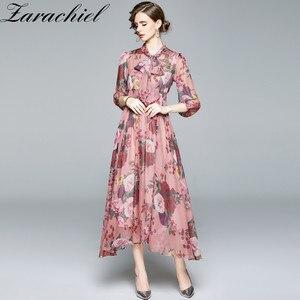 Runway Fall Chiffon Dress Women Bow Neck Three Quarter Sleeve Flower Print Pleated Long Dresses Plus Size Bohemian Floral Dress