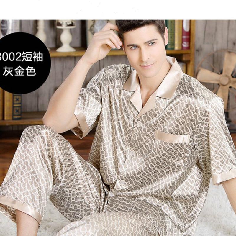 Summer Mens Pajamas Set Silk Pajamas For Men Sleepwear Nightgown Home Stian Soft Cozy Thin Short Sleeve Tops + Pants Bts Pajamas