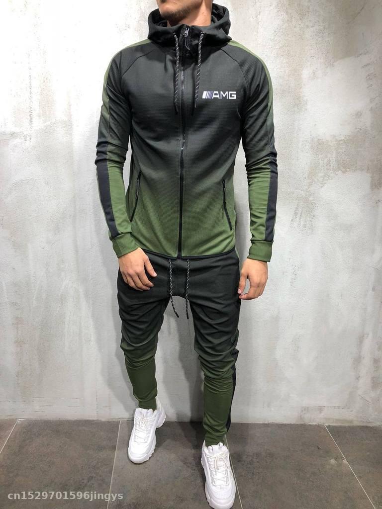2020 Zipper Tracksuit Men Set For Amg Logo Sporting Jacket+Pants 2 Pieces Hoodies Sweatshirt &Pant Racing Suit