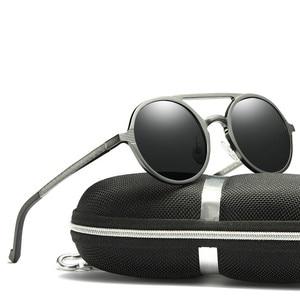 Image 3 - Мужские солнцезащитные очки, винтажные поляризационные очки в круглой оправе из алюминиево магниевого сплава, зеркальные очки для вождения