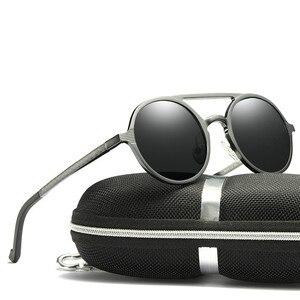 Image 3 - Brand Design Sunglasses Men Polarized Vintage Round Frame Sun Glasses Aluminum Magnesium Alloy Driver Glasses Driving Mirrors
