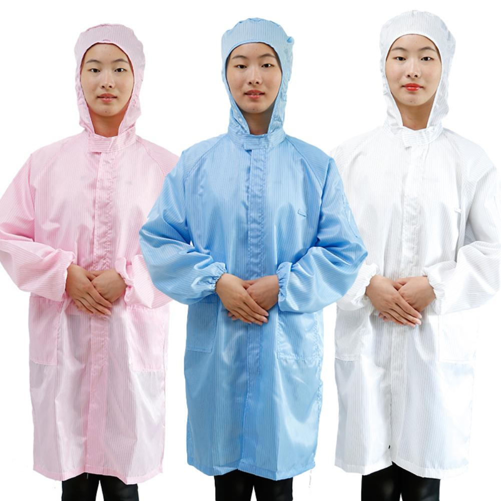 Unisex Hood Anti Static Dust Proof Laboratory Sanitary Protective Coat