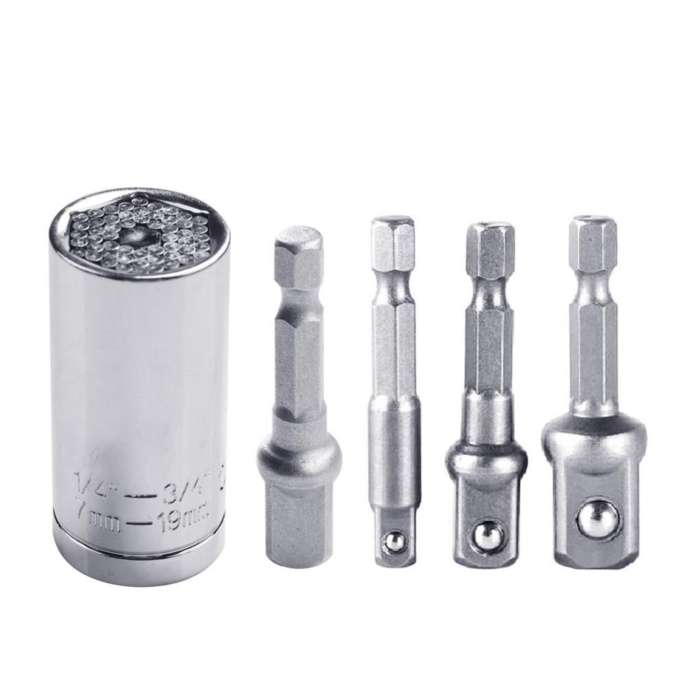 Universal Socket Rotary Socket Set 7mm-19mm Power Drill Ratchet Bushing Spanner Socket Wrench With Power Drill AdapterTool