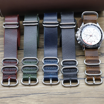 Vintage Genuine Leather Nato Watch Band Strap 18mm 20mm 22mm 24mm Handmade Replacement Zulu Strap for Watch Accessories for suunto core nylon diver watch strap band kit w lugs 5 ring pdv clasp 20 22 24mm zulu for nato g10 tools