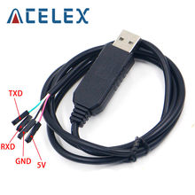 Eletrônica inteligente pl2303 pl2303hx usb para uart ttl cabo módulo 4 p 4 pinos rs232 conversor de linha serial suporte linux mac win7