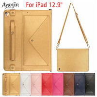 Cover For Apple iPad 12.9 inch 2015/2017 With Pencil Holder PU Leather Soft Silicone Case For iPad pro 12.9 case+Screen Film+Pen