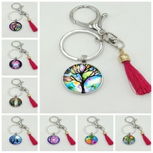 2019 New Retro Wind Color Life Tree Series Glass Cabochon Tassel Keychain Fashion Jewelry Gift Souvenir