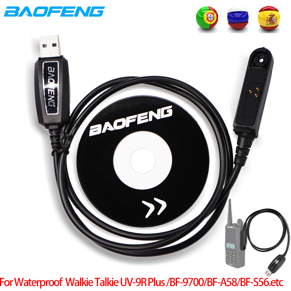 Original Baofeng UV-9R Plus USB Programming Data Cable Driver CD For Baofeng UV9R Plus BF-9700 9rhp A-58 S56 Waterproof CB Radio