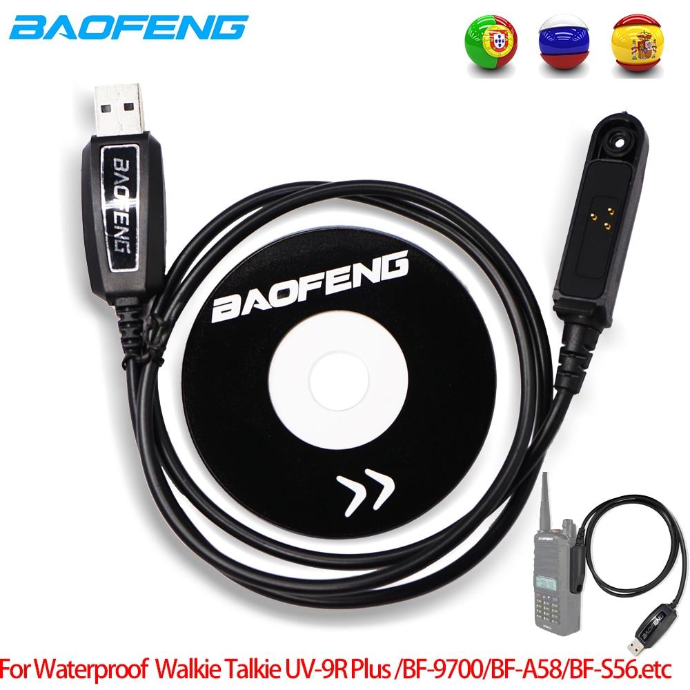 Original Baofeng UV-9R Plus USB Programming Data Cable Driver CD For Baofeng UV9R Plus BF-9700 9rhp A-58 S56 Waterproof CB Radio
