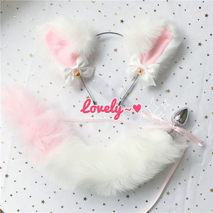 Image 1 - Cute Soft Neko Ears Headbands Faux Fox Tail Metal Butt Anal Plug Erotic Anime Cosplay Accessories Adult Sex Toys for Couples