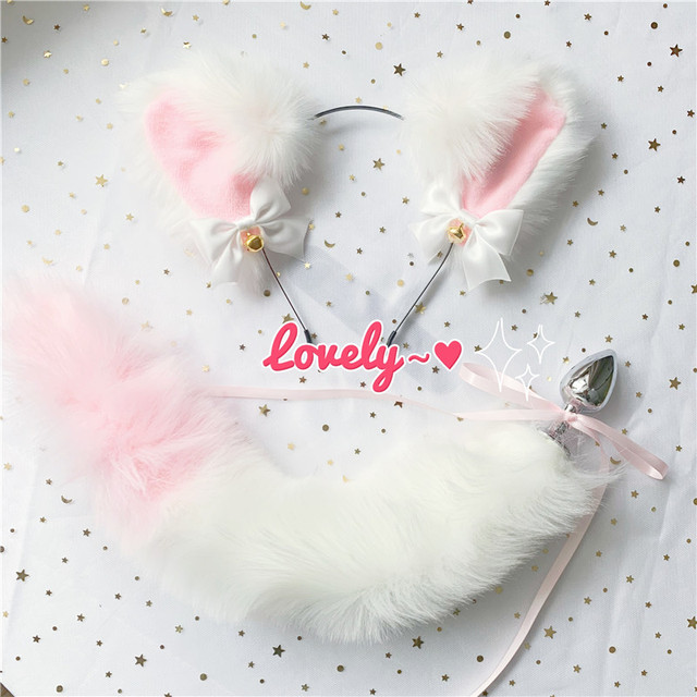Cute Soft Neko Ears Headbands Faux Fox Tail Metal Butt Anal Plug Erotic Anime Cosplay Accessories Adult Sex Toys for Couples