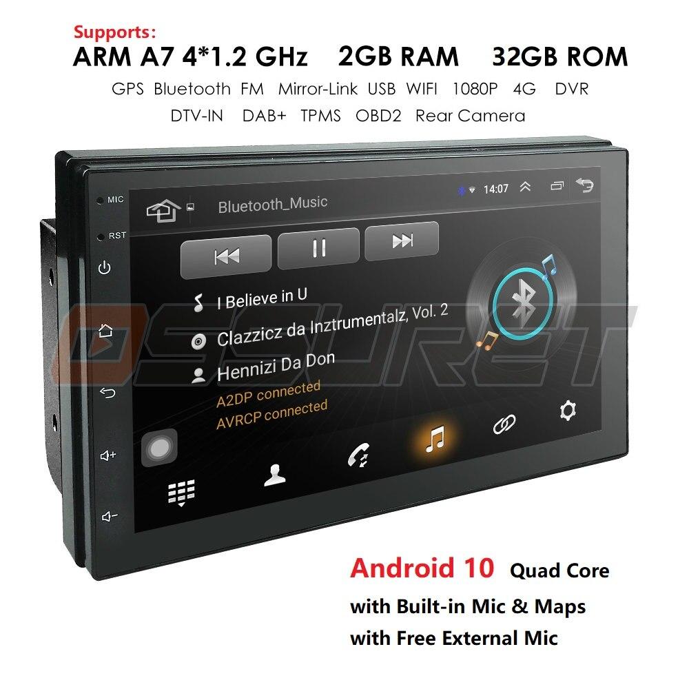 Navigation 2 Din Car Gps Autoradio Bluetooth Radio Car Multimedia Player 2din Cassette Recorder Android 10 Universal Obd2 Dab+