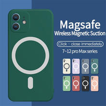 Sıvı silikon mıknatıs kılıf iPhone 12 12Pro 11 Pro Max 11Pro X Xs Xr 7 8 artı Mini SE kablosuz şarj Magsafing yumuşak kapak