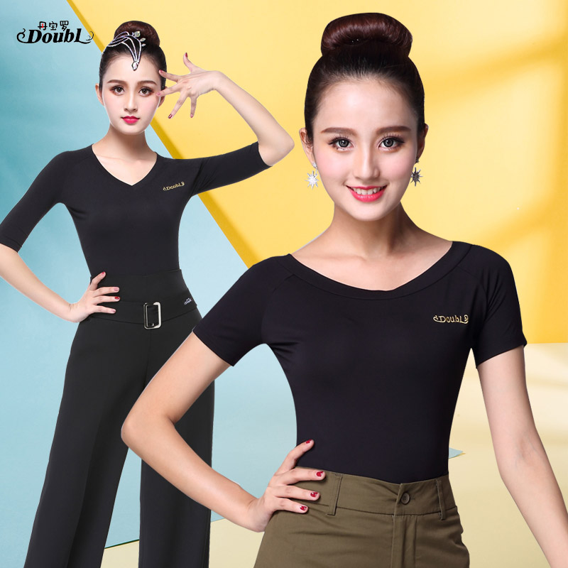 Doubl Latin Dance T Shirts Tops Practise Costume Modern Dance Comfortable Dancing Costume Female Womens Short Sleeve Boat Neck