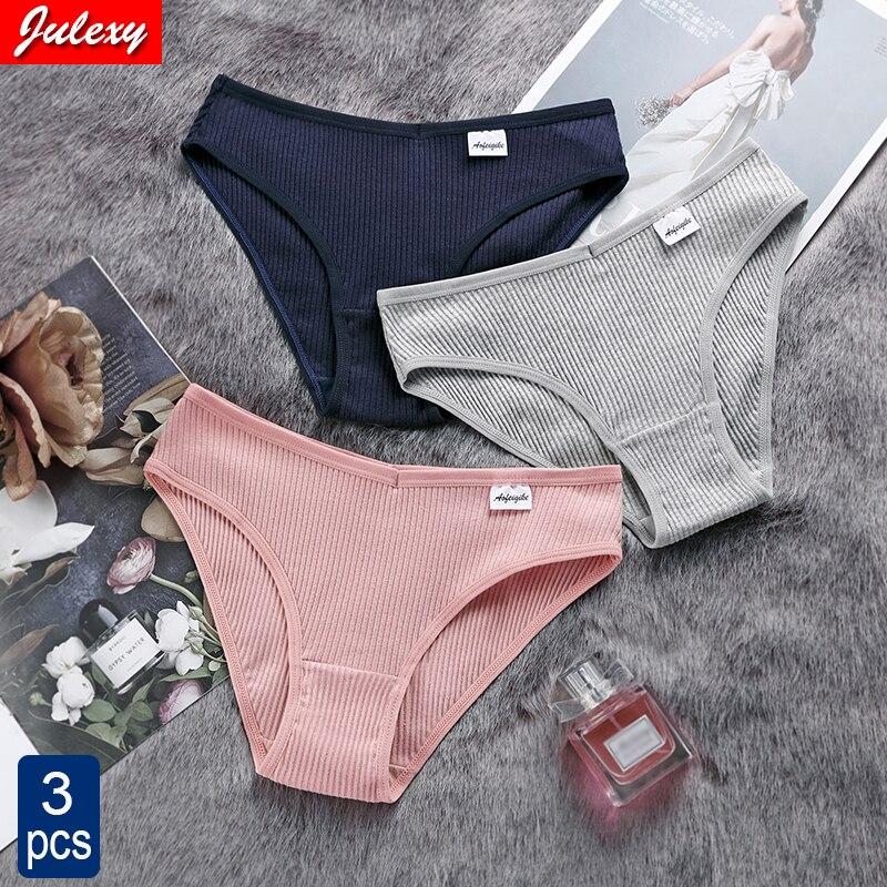 Julexy New 2021 Cotton Sexy Panties for Women Underpants Briefs Underwear Plus Size Pantys Lingerie 3PCS/Set 8 Solid Color