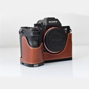 Image 4 - עור אמיתי מקרה מצלמה תיק מעטפת כיסוי עבור Sony A7R MarkIII A7M3 A7RIII A9 יד גריפ מחזיק אלומיניום שחרור מהיר L פלאט
