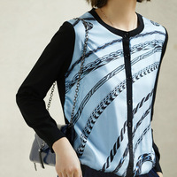 New silk style hot style fire braid printed pure silk joining together knitted cardigan