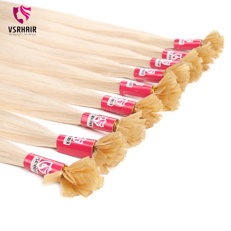 VSR Double Drawn Thickness Hair Bottom 25strand 50strand 100strand Fusion Flat Tip Hair 1g/strand Keratin Tip Hair Extension
