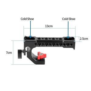 Image 2 - BGNing אלומיניום למעלה ידית אחיזה חמה קר נעל גבינת ידית עבור DSLR מצלמה 15mm Rig מוט מהדק מסילה הרחבה כלוב הר מתאם