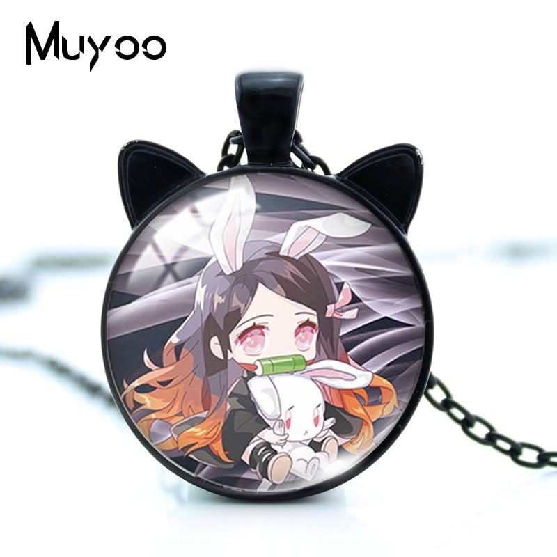 New Kawaii Anime Demon Slayer Kimetsu No Yaiba Characters Handmade Glass Cabochon Round Cat Ears Pendant Necklace