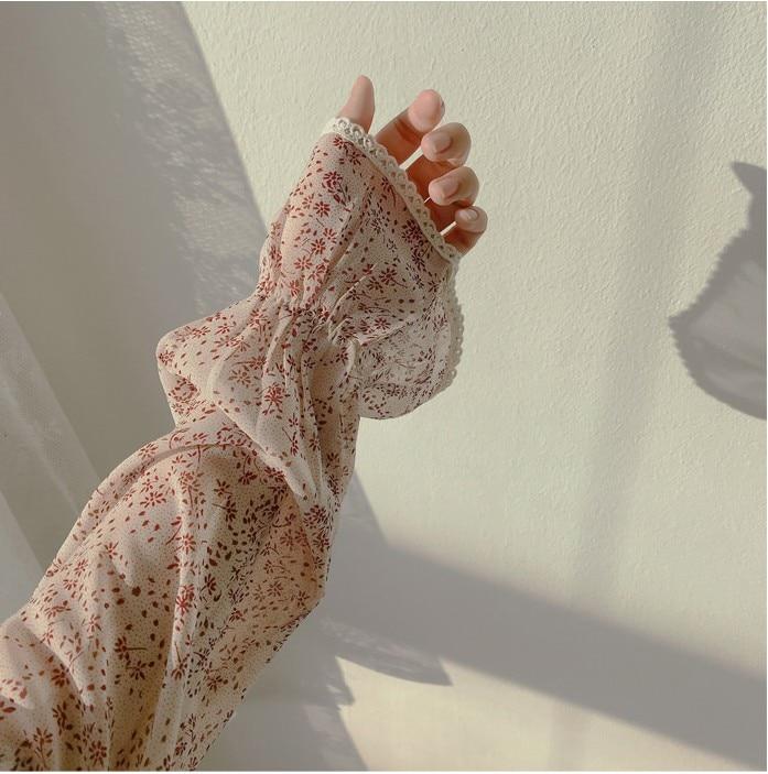 Haea99502cabd49f1ac6a5f8726abd06ei - Autumn Puritan Collar Long Sleeves Chiffon Floral Print Lace-Up Slim Midi Dress