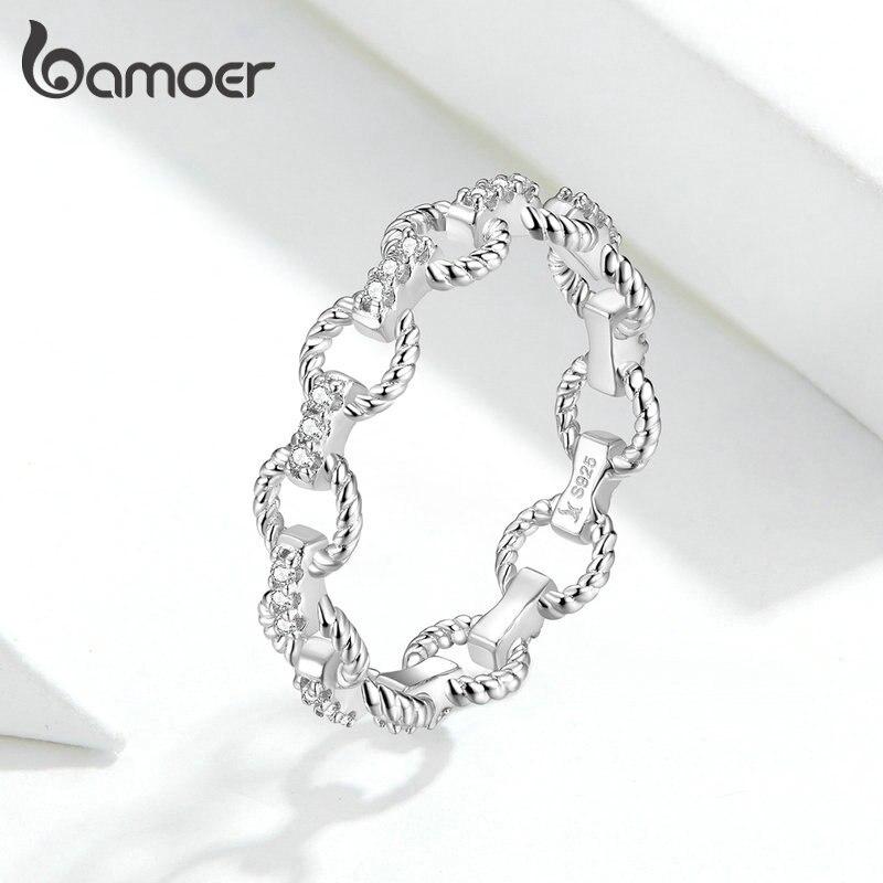 bamoer Link Pattern Stackable Finger Rings for Women Openwork Band 925 Sterling Silver Fine Wedding Jewelry GXR576