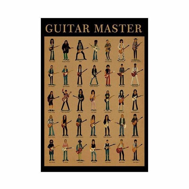 51x35cm clássico guitarra mestre cartaz do vintage decoração da sala adesivos arte da parede cartazes de papel kraft cafe bares decoração adesivo de parede