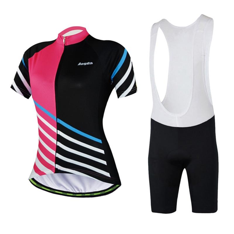 Women Short Sleeve Cycling Clothing Suit Bicycle Jerseys Bike Shorts Set S-XL
