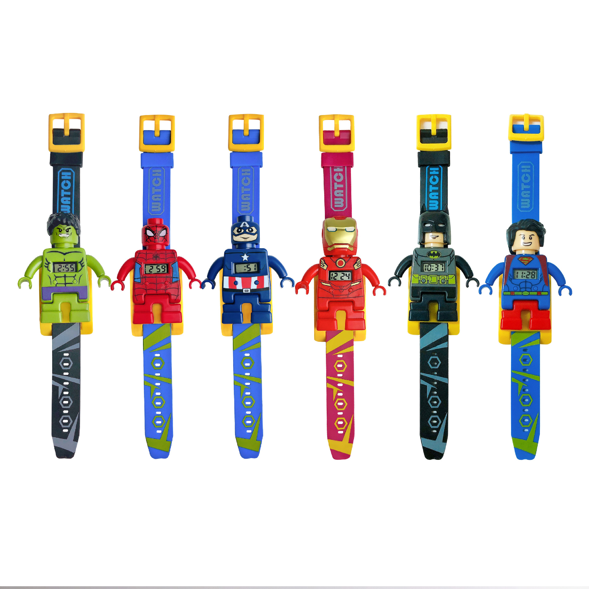 Spiderman Hulk Batman Captain Project Wristwatch Toy Electronic Watch Children Sports Cartoon Watches Kids Xmas Gifts #2685