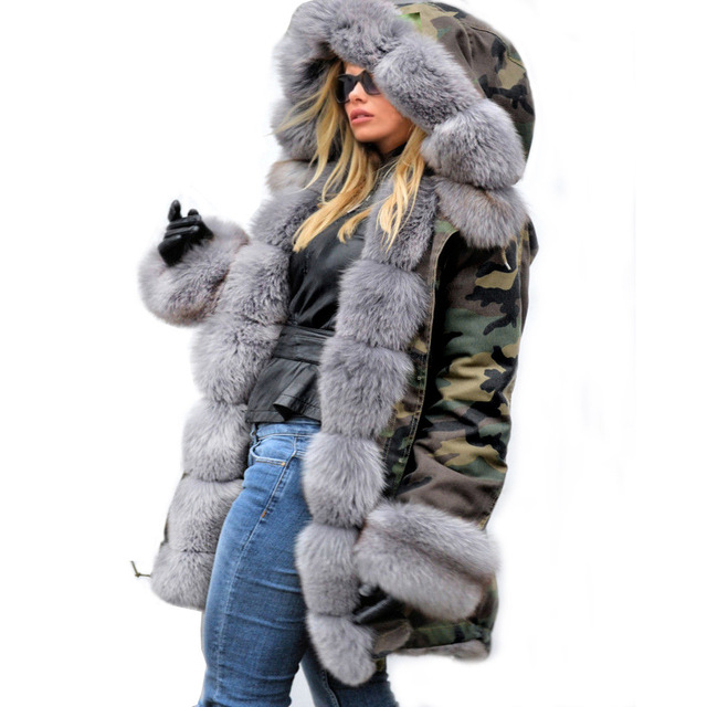 Фото высокое качество зимняя женская куртка пальто с большим меховым цена