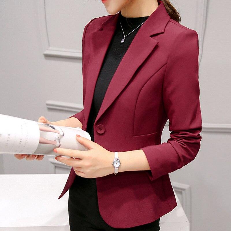 YUSHU 2020 New Elegant Blazer Jacket Women Notched Collar Solid Business Blazer Short Slim Long-sleeve Blazer Feminino