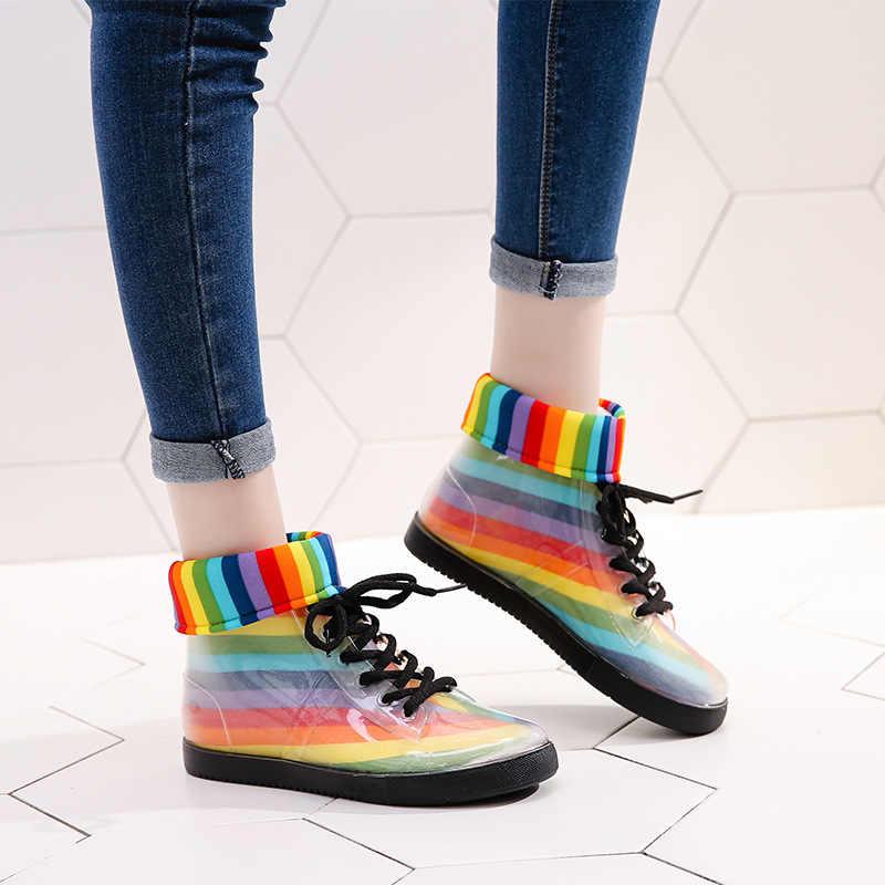 עמיד למים חורף נעלי נשים קרסול מגפי חורף מגפי בוטה נשים נעלי שקוף גשם מגפי נשים מגפי Botas Mujer
