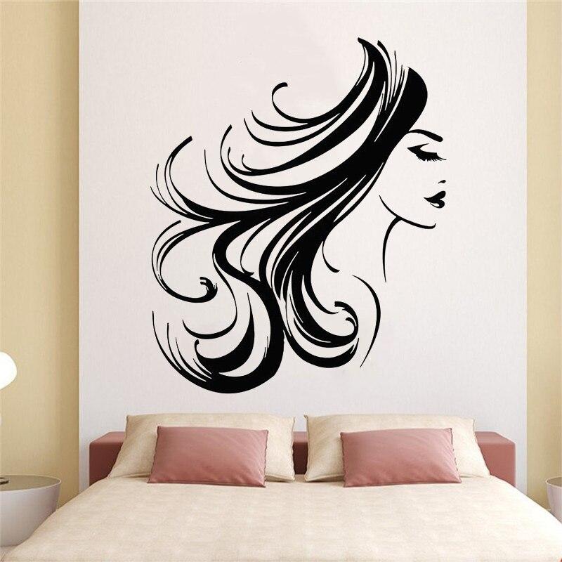 Wall Decal Window Sticker Beauty Salon Woman Face Hair Salon Hairstyle Style Hair t133