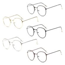 Korean Style Retro Round Metal Glasses Frame For Women Men College Large Eyewear