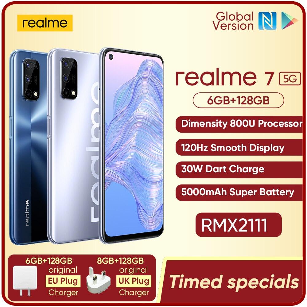 Realme 7 5G Dimensity 800U 6/8 ГБ 128 Встроенная память 120 Гц Дисплей 48MP Quad Camera 5000 мА/ч, большая Батарея глобальная Версия 30 Вт Дротика Зарядное устройство