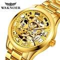 WAKNOER Мужские автоматические часы Роскошные полностью из нержавеющей стали механические мужские s наручные часы модные золотые мужские часы...