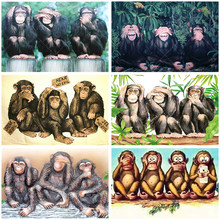 Diamante pittura 5D mosaico animale cartone animato tre scimmie non guardare ascolta dire regalo fai da te murale quadrato rotondo foto ricamo Set