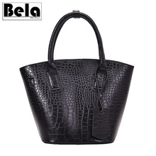 цена на BelaBolso Oil Wax Leather Handbags Women Bag Large Shoulder Bags Crocodile Lady Messenger Bag Famous Brand Top-handle Bag HMB767