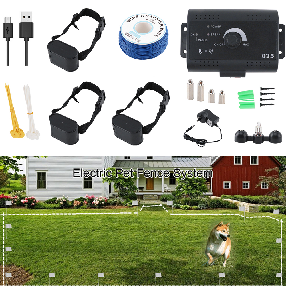 1-111 Dog Wireless Electric Fence Pet Shocked Training Collar USB Rechargeable Electronic Pet Fence Containment System