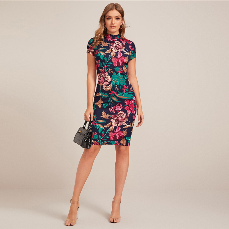 SHEIN Multicolor Mock-Neck Form Fitted Floral Print Dress Women Spring Cap Sleeve Bodycon Elegant Pencil Midi Dresses
