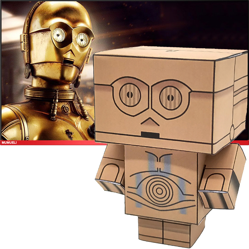 No-glue Star Wars Robot C-3PO See-Threepio Mini 3D Paper Model Papercraft Movie Figure DIY Cubee Kids Adult Craft Toys CS-044