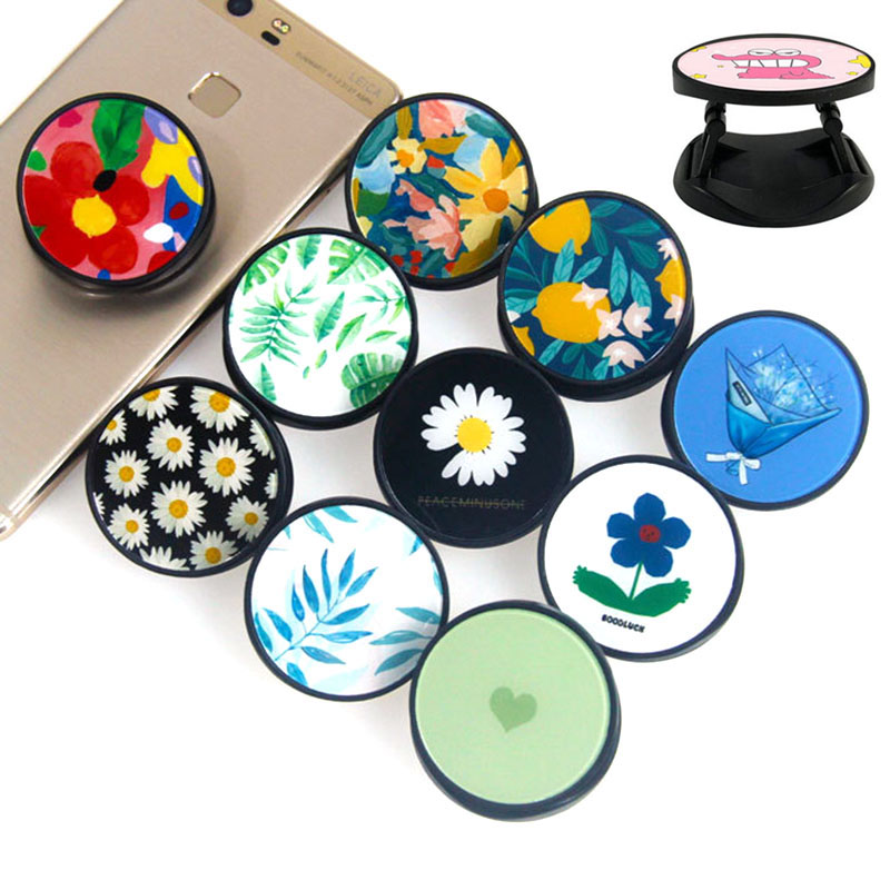 Beautiful Flowers Expanding Phone Stand And Grip Finger Ring Phone Bracket Foldable Phone Holder For Samsung Stand Holder