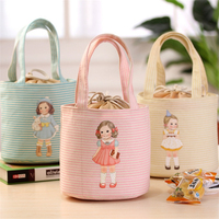 Cartoon Lunch Bags For Women Kids Cute Doll Lunch Box Round Cooler Tote Waterproof Portable Insulated Picnic Food Storage Bag