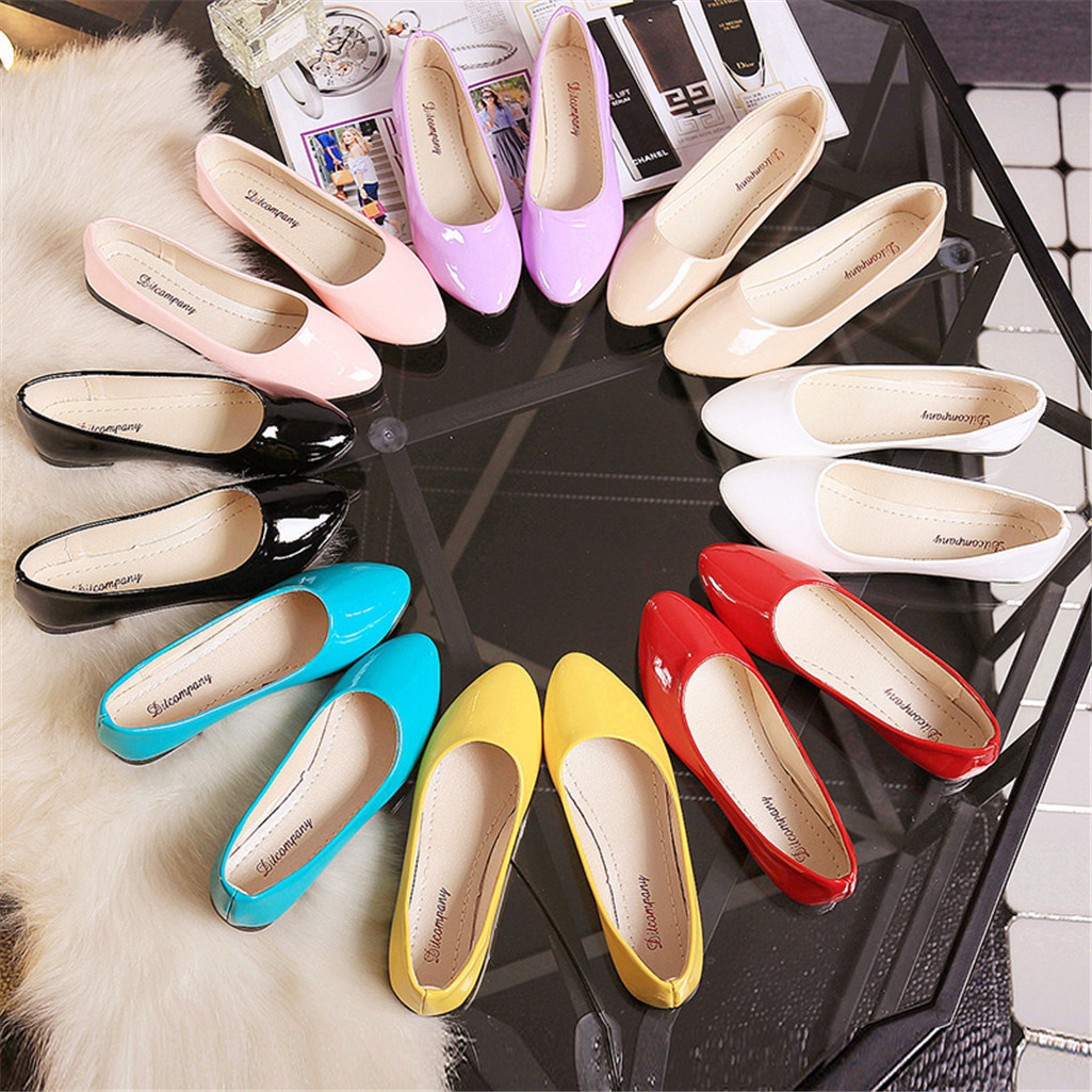 New 35-42 Womens Cute Casual Shoes Female Boat Shoes Comfort Slip On Point Toe PU Leather Flat Shoes Candy Color Summer Shoe
