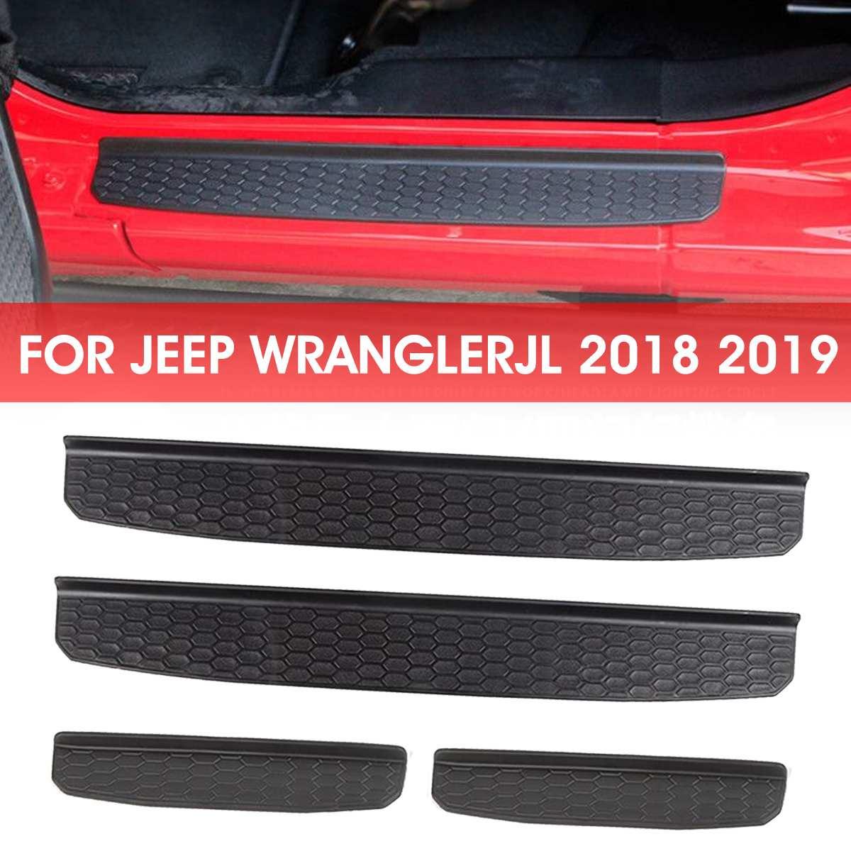 4 pçs/set carro auto pedal porta placa soleira entrada guardas protetor acessórios da porta para jeep wrangler jl 2018 2019 +