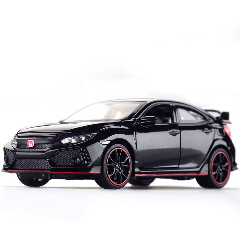 Diecast Model Car Honda Civic Type R 1/32 Metal Alloy Simulation Pull Back Cars Lights Toys Vehicles For Kids Gifts For Children