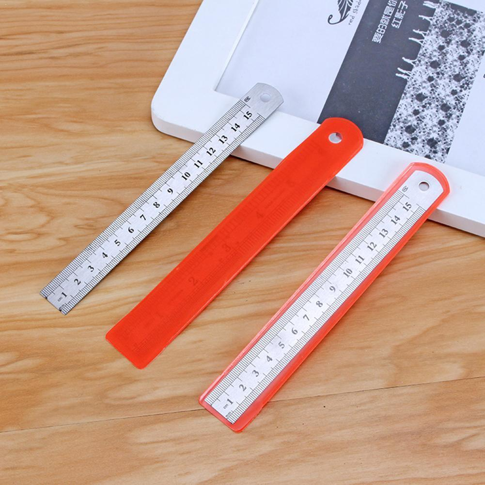 Vividcraft 1 Pcs 15CM 20CM 30CM Metal Stainless Steel Drafting Ruler Patchwork Tools Ruler Promotional Straight Gift Statio O0H0
