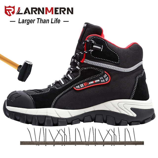 LARNMERN Mens Work Shoes Steel Toe Safety Shoes Comfortable Lightweight Anti smashing Non slip Construction Protective Footwear