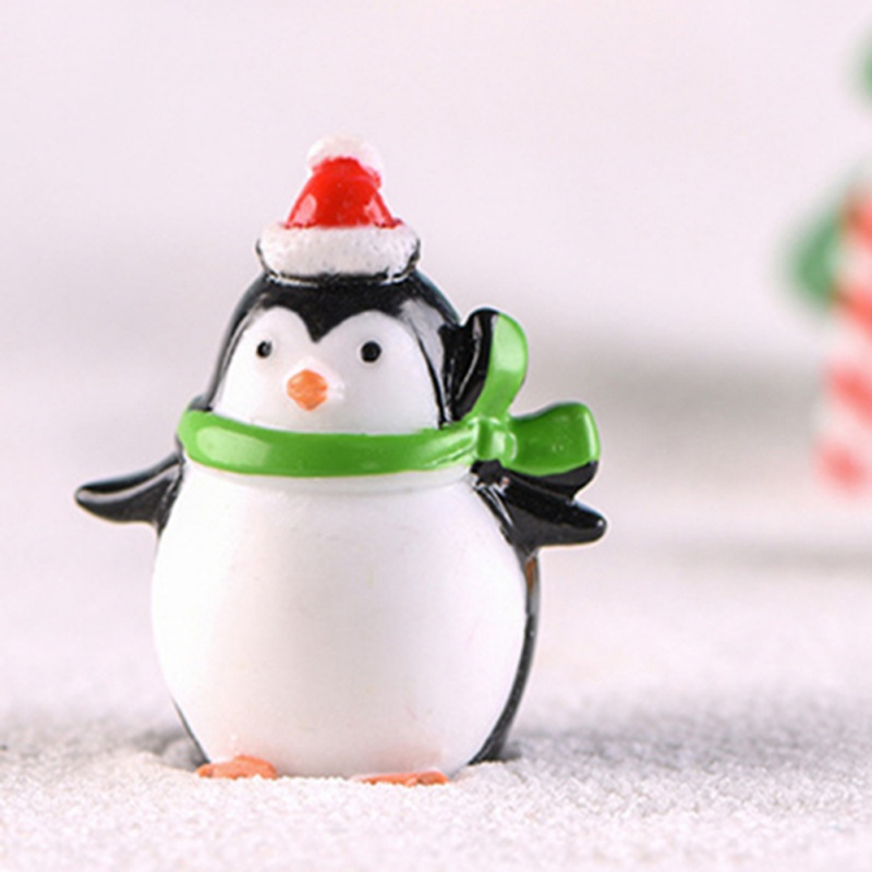 Christmas Mini Tiny Moss Party Ornament Figures Crafts 4 Toy Pcs Winter Penguin