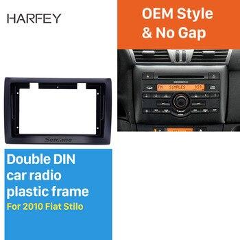 Harfey Double Din 9 inch Car Radio Panel for 2010 Fiat Stilo Fascia Frame Dash Mount Kit Trim Refitting Installation Plate